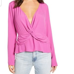 Leith   Purple Orchid Knot Peplum Top NWT